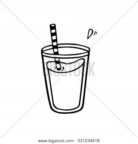 Line Art Of Glass Of Juice Or Smoothie. Hand-drawn In Cartoon Style, Black Artwork Isolated On White