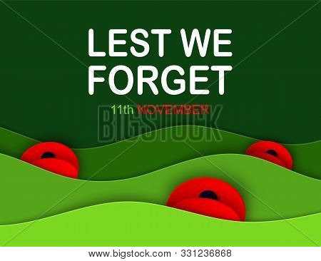 Vector Remembrance Day Web Layered Banner. Paper Cut Red Poppy Flower International Symbol Of Peace.