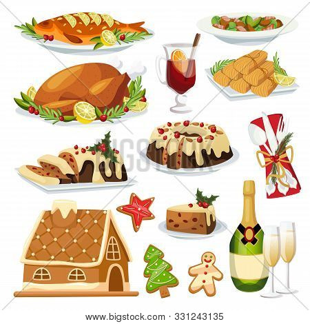Christmas And New Year Holiday Menu Design Elements. Vector Flat Cartoon Illustration. Traditional H