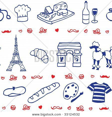 French icons seamless patterns