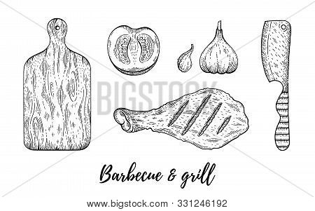 Grill Barbecue Sketch Set. Chicken Meat Leg Cook, Board, Knife Collection, Hand Drawn Bbq Grill Menu