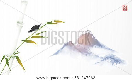 Bird Sitting On Bamboo Tree And Far Blue Mountains. Traditional Oriental Ink Painting Sumi-e, U-sin,