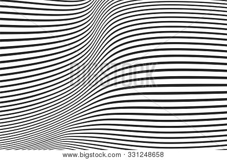 Lines With Different Thickness That Makes A Wavy Surface. Optical Illusion Effect. Abstract Halftone