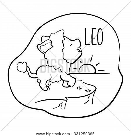 Leo Astrological Zodiac Sign With Cute Cat Character. Leo Vector Illustration On White Background. A