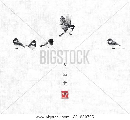One Bird Flying And Four Little Birds Sitting On A Wire. Traditional Oriental Ink Painting Sumi-e, U