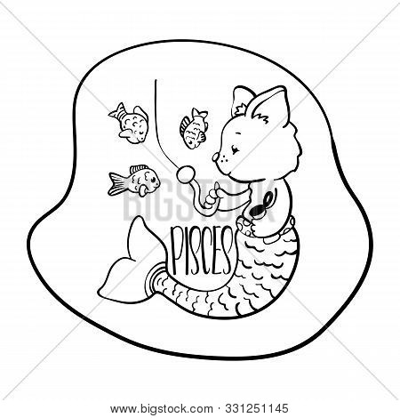 Pisces Astrological Zodiac Sign With Cute Cat Character. Pisces Vector Illustration On White Backgro
