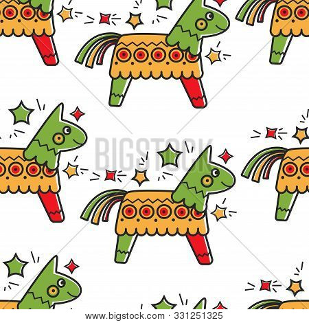 Mexican Horse Toy With Candies Pinata Seamless Pattern Mexico Culture