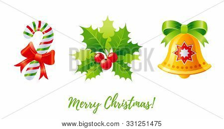 Christmas Icon Set. Holly Mistletoe, Jingle Bell, Candy Cane. 3d Cartoon Greeting Card Design Elemen