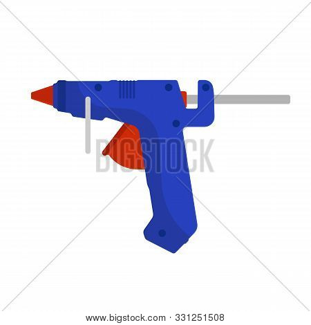 Glue Gun Vector Adhesive Icon Craft Equipment Tool. Hot Repair Work Appliance Silicone. Affix Blue P