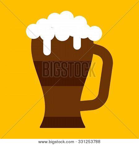 Beer Stein Mug Illustration Oktoberfest Vector Icon. Alcohol Drink Pint Vintage Beverage. Foam Tanka