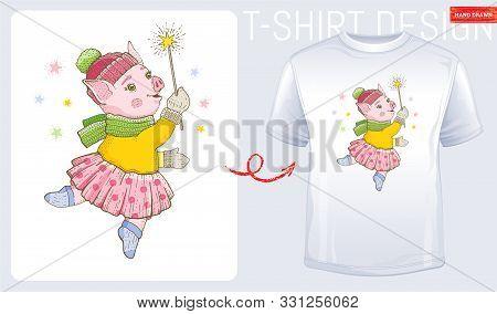 Winter Pig T-shirt Print Design. Cute Cartoon For Baby, Kid, Woman Fashion. White Modern T Shirt. Da