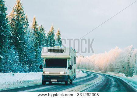 Caravan In Road In Rovaniemi Finland In Winter Lapland