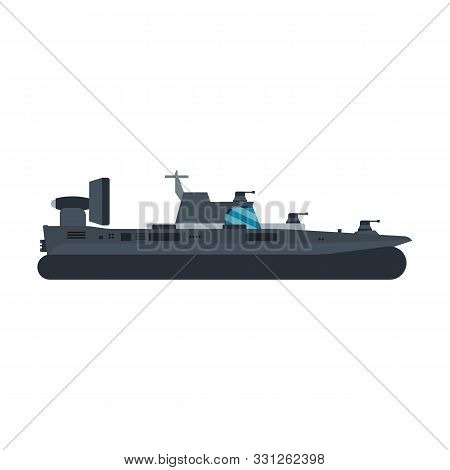Navy Hovercraft Side View Vector Icon Illustration. Boat Sea Transport Water Vessel Speed. Isolated
