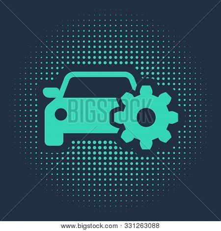 Green Car Service Icon Isolated On Blue Background. Auto Mechanic Service. Mechanic Service. Repair