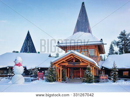 Snowman At Santa Office In Santa Village Rovaniemi Lapland