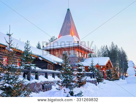 Santa Office And Christmas Trees In Santa Village Rovaniemi Lapland