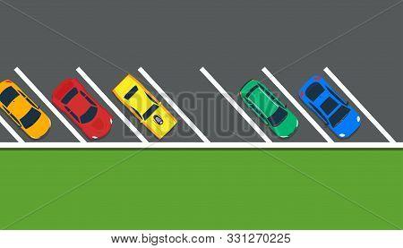 Park Car Vector Illustration Top View Lot Road. Above Carpark Garage Street Sign Concept. Free Space