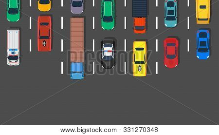 Traffic Jam Car Top View Vector Illustration Road. Lot Street City Aerial Asphalt Design Highway. Tr