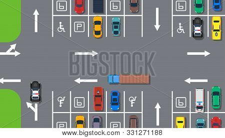 Parking Zone Car Top View Aerial Construction Illustration. Road Street Traffic Transport Concept. C
