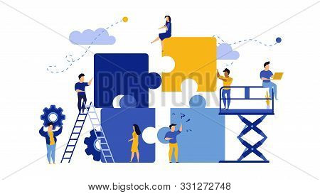 Business Team Work Building Puzzle Concept Vector Illustration. People Partnership Man And Woman Cha
