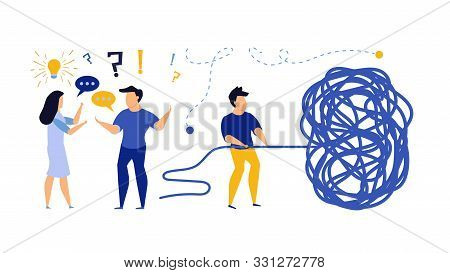 Business Challenge Vector Achievement Work Progress. Tangle Tangled Conceptual Abstract Strategy Tea