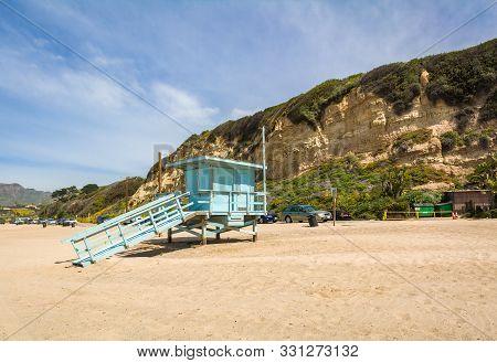 Lifeguard Tower On The Zuma Beach In Malibu, California. United States