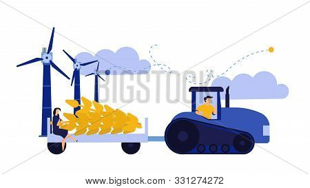 Vector Illustration Harvest Wheat Ears Agriculture Farmer. Man With Tractor And Windmill Crop Work B