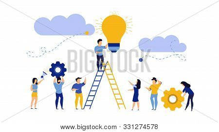 Future Ahead With Man, Woman And Light Bulb Vector Concept Illustration. Business Ladder Career Job