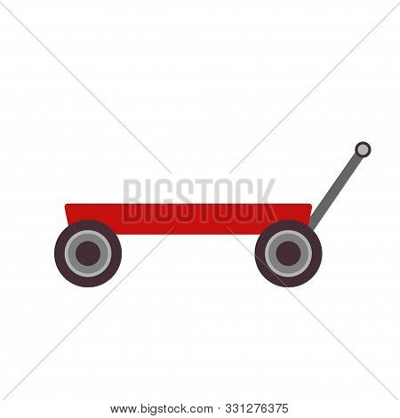 Toy Cart Vector Illustration Kid Icon Isolated Art Trolley Wheel. Childhood Card Design Wagon Transp