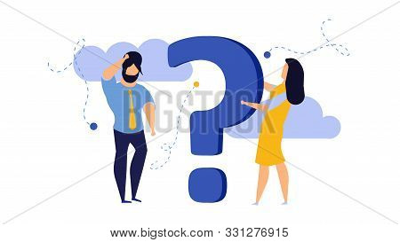 Person People Question Mark Answer Vector Illustration Concept Action. Advice Ask Business Cartoon F