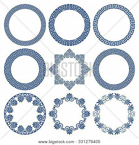 Vector Set Of Round Blue Frames In Traditional And Modern Hellenic Style Isolated On White Backgroun