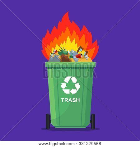 Garbage In The Trash Can Burns. Waste Incineration. Flat Vector Illustration.