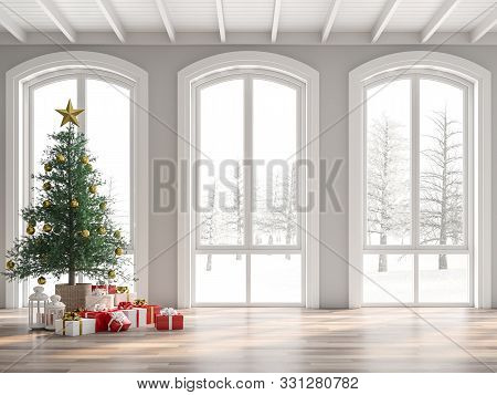 Classical Empty Room Decorate With Christmas Tree 3d Render,the Room Has Wooden Floors And White Woo