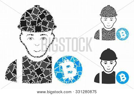 Bitcoin Miner Mosaic Of Humpy Items In Different Sizes And Color Tinges, Based On Bitcoin Miner Icon