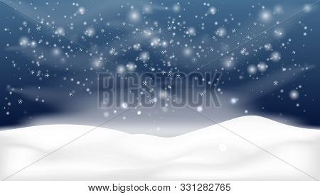 Snowy Landscape Isolated On Dark Background.christmas, Snowy Woodland Landscape. Holiday Winter Land