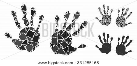 Hand Prints Composition Of Abrupt Items In Variable Sizes And Shades, Based On Hand Prints Icon. Vec