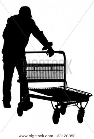 Vector drawing of a man with a trolley