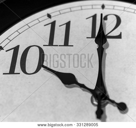Ten O Clock, Vintage Clock, Close-up On Curfew Time
