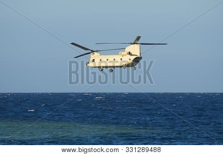 Egyptian Military Chinook Transport Helicopterairborne In Flight Over Water