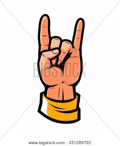 Cool Symbol. Hand In Rock Sign Vector Illustration
