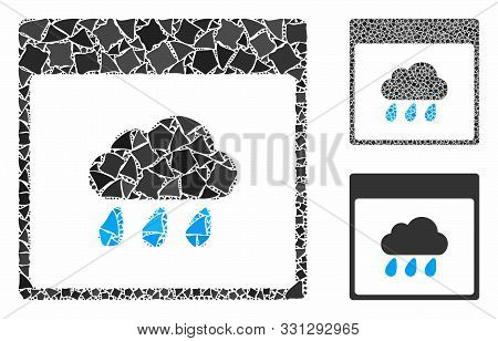 Rain Cloud Calendar Page Mosaic Of Trembly Pieces In Variable Sizes And Shades, Based On Rain Cloud