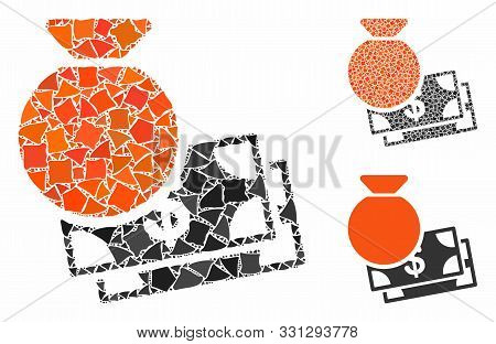 Capital Mosaic Of Uneven Parts In Different Sizes And Shades, Based On Capital Icon. Vector Rough Pa