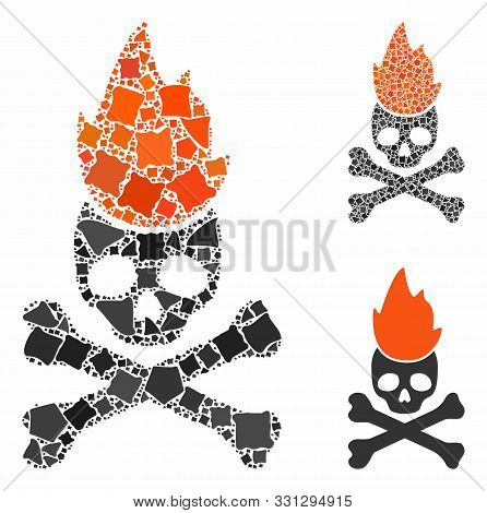 Hell Fire Mosaic Of Unequal Items In Various Sizes And Shades, Based On Hell Fire Icon. Vector Tuber