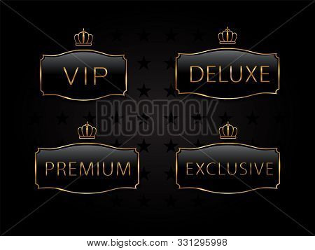 Vip Black Glass Label With Golden Frame And Crown. Premium, Exclusive, Luxury Badge On Certificate,