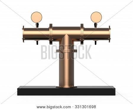 Equipment For Bar 3d Illustration Isolated On White Background. Metallic Nickel Beer Pump Tower Rend