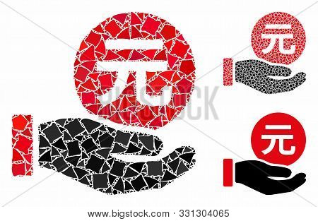Renminbi Yuan Coin Payment Mosaic Of Rugged Items In Variable Sizes And Color Tinges, Based On Renmi