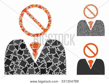 Mister No Mosaic Of Ragged Items In Various Sizes And Color Tones, Based On Mister No Icon. Vector H