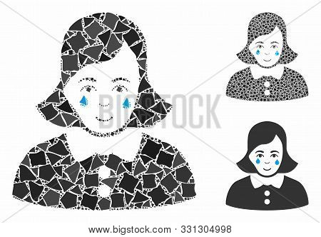 Crying Woman Composition Of Bumpy Items In Different Sizes And Color Tinges, Based On Crying Woman I