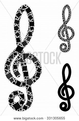 Musical Notation Mosaic Of Abrupt Elements In Variable Sizes And Color Tones, Based On Musical Notat