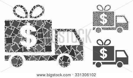 Dollar Gift Delivery Composition Of Abrupt Parts In Different Sizes And Shades, Based On Dollar Gift